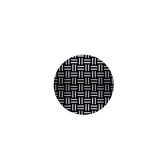 Woven1 Black Marble & Silver Brushed Metal 1  Mini Button by trendistuff