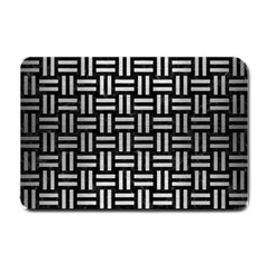 Woven1 Black Marble & Silver Brushed Metal Small Doormat