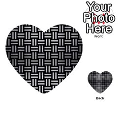 Woven1 Black Marble & Silver Brushed Metal Multi Purpose Cards (heart) by trendistuff