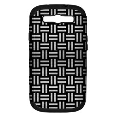 Woven1 Black Marble & Silver Brushed Metal Samsung Galaxy S Iii Hardshell Case (pc+silicone) by trendistuff