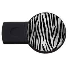 Skin4 Black Marble & Silver Brushed Metal Usb Flash Drive Round (2 Gb) by trendistuff