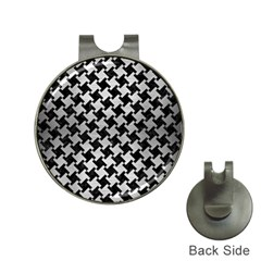 Houndstooth2 Black Marble & Silver Brushed Metal Golf Ball Marker Hat Clip by trendistuff
