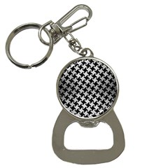 Houndstooth2 Black Marble & Silver Brushed Metal Bottle Opener Key Chain by trendistuff