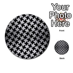 Houndstooth2 Black Marble & Silver Brushed Metal Multi Purpose Cards (round) by trendistuff