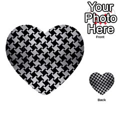 Houndstooth2 Black Marble & Silver Brushed Metal Multi Purpose Cards (heart) by trendistuff