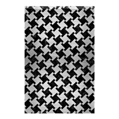 Houndstooth2 Black Marble & Silver Brushed Metal Shower Curtain 48  X 72  (small) by trendistuff