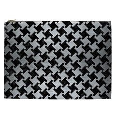 Houndstooth2 Black Marble & Silver Brushed Metal Cosmetic Bag (xxl)
