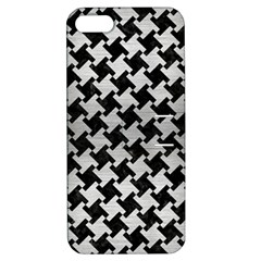 Houndstooth2 Black Marble & Silver Brushed Metal Apple Iphone 5 Hardshell Case With Stand by trendistuff