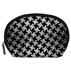 Houndstooth2 Black Marble & Silver Brushed Metal Accessory Pouch (large) by trendistuff