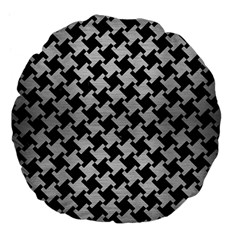 Houndstooth2 Black Marble & Silver Brushed Metal Large 18  Premium Flano Round Cushion  by trendistuff