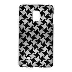 Houndstooth2 Black Marble & Silver Brushed Metal Samsung Galaxy Note Edge Hardshell Case by trendistuff