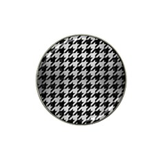 Houndstooth1 Black Marble & Silver Brushed Metal Hat Clip Ball Marker (10 Pack) by trendistuff