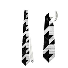 Houndstooth1 Black Marble & Silver Brushed Metal Necktie (one Side) by trendistuff