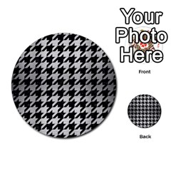 Houndstooth1 Black Marble & Silver Brushed Metal Multi Purpose Cards (round) by trendistuff