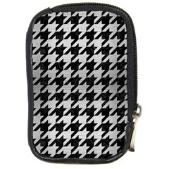 Houndstooth1 Black Marble & Silver Brushed Metal Compact Camera Leather Case by trendistuff