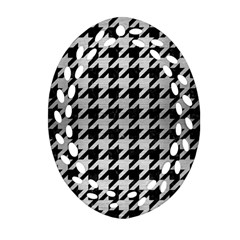 Houndstooth1 Black Marble & Silver Brushed Metal Ornament (oval Filigree) by trendistuff
