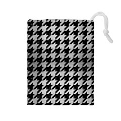 Houndstooth1 Black Marble & Silver Brushed Metal Drawstring Pouch (large)