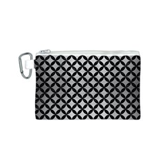 CIR3 BK MARBLE SILVER (R) Canvas Cosmetic Bag (S) by trendistuff