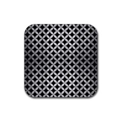 Circles3 Black Marble & Silver Brushed Metal Rubber Square Coaster (4 Pack) by trendistuff