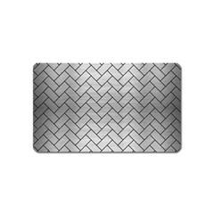 Brick2 Black Marble & Silver Brushed Metal (r) Magnet (name Card) by trendistuff