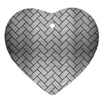 BRICK2 BLACK MARBLE & SILVER BRUSHED METAL (R) Heart Ornament (Two Sides) Front