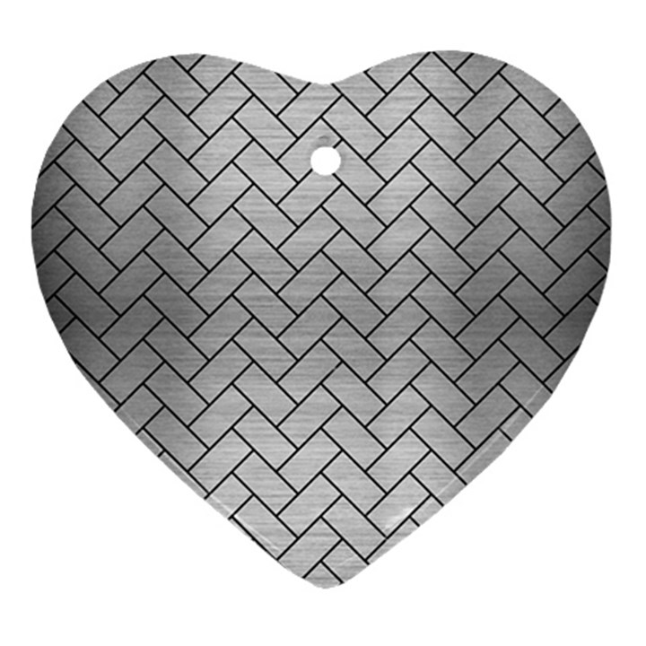BRICK2 BLACK MARBLE & SILVER BRUSHED METAL (R) Heart Ornament (Two Sides)