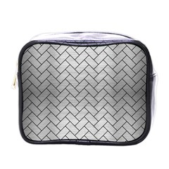Brick2 Black Marble & Silver Brushed Metal (r) Mini Toiletries Bag (one Side) by trendistuff