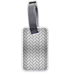 Brick2 Black Marble & Silver Brushed Metal (r) Luggage Tag (two Sides) by trendistuff