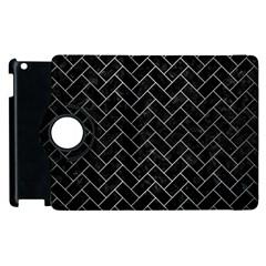 Brick2 Black Marble & Silver Brushed Metal Apple Ipad 2 Flip 360 Case by trendistuff