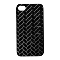Brick2 Black Marble & Silver Brushed Metal Apple Iphone 4/4s Hardshell Case With Stand by trendistuff