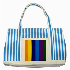 Rainbow Painting On Wood Striped Blue Tote Bag by StuffOrSomething