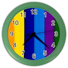 Rainbow Painting On Wood Color Wall Clocks by StuffOrSomething