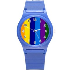 Rainbow Painting On Wood Round Plastic Sport Watch (s) by StuffOrSomething