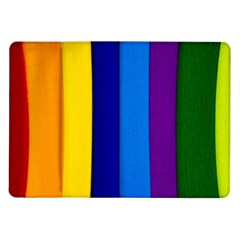 Rainbow Painting On Wood Samsung Galaxy Tab 10 1  P7500 Flip Case by StuffOrSomething