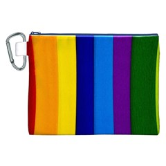 Rainbow Painting On Wood Canvas Cosmetic Bag (xxl)  by StuffOrSomething
