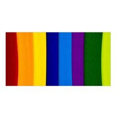 Rainbow Painting On Wood Satin Shawl