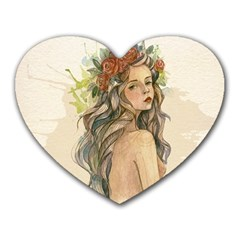 Beauty Of A Woman In Watercolor Style Heart Mousepads by TastefulDesigns