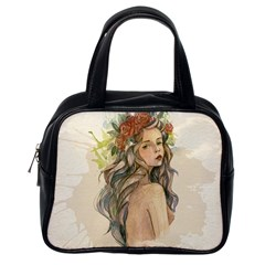 Beauty Of A Woman In Watercolor Style Classic Handbags (one Side) by TastefulDesigns
