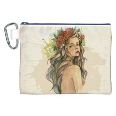 Beauty Of A Woman In Watercolor Style Canvas Cosmetic Bag (xxl)  by TastefulDesigns