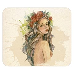 Beauty Of A Woman In Watercolor Style Double Sided Flano Blanket (small)  by TastefulDesigns