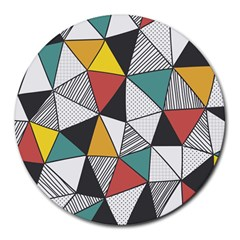 Colorful Geometric Triangles Pattern  Round Mousepads by TastefulDesigns