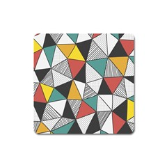 Colorful Geometric Triangles Pattern  Square Magnet by TastefulDesigns