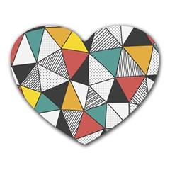 Colorful Geometric Triangles Pattern  Heart Mousepads by TastefulDesigns