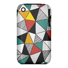 Colorful Geometric Triangles Pattern  Apple Iphone 3g/3gs Hardshell Case (pc+silicone) by TastefulDesigns