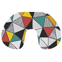Colorful Geometric Triangles Pattern  Travel Neck Pillows by TastefulDesigns