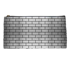 Brick1 Black Marble & Silver Brushed Metal (r) Pencil Case by trendistuff