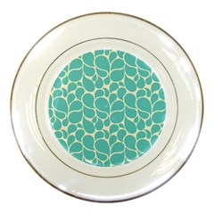 Blue Abstract Water Drops Pattern Porcelain Plates by TastefulDesigns