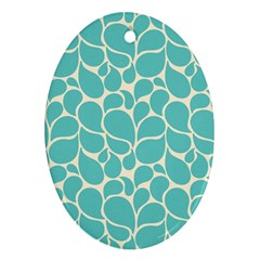 Blue Abstract Water Drops Pattern Oval Ornament (two Sides) by TastefulDesigns