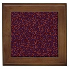 Seamless Orange Ornaments Pattern Framed Tiles by TastefulDesigns
