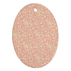 Girly Pink Leaves And Swirls Ornamental Background Oval Ornament (two Sides) by TastefulDesigns